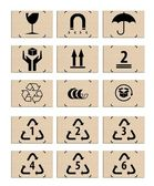 Set of packing icons on the cardboard boxes, symbols — Stock Photo