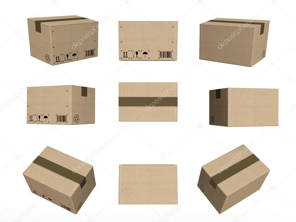 Set of icons, closed cardboard boxes isolated on white background — Stock Photo #11480979