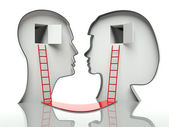 Man and woman faces profiles with ladders and path, concept of communication — Stock Photo
