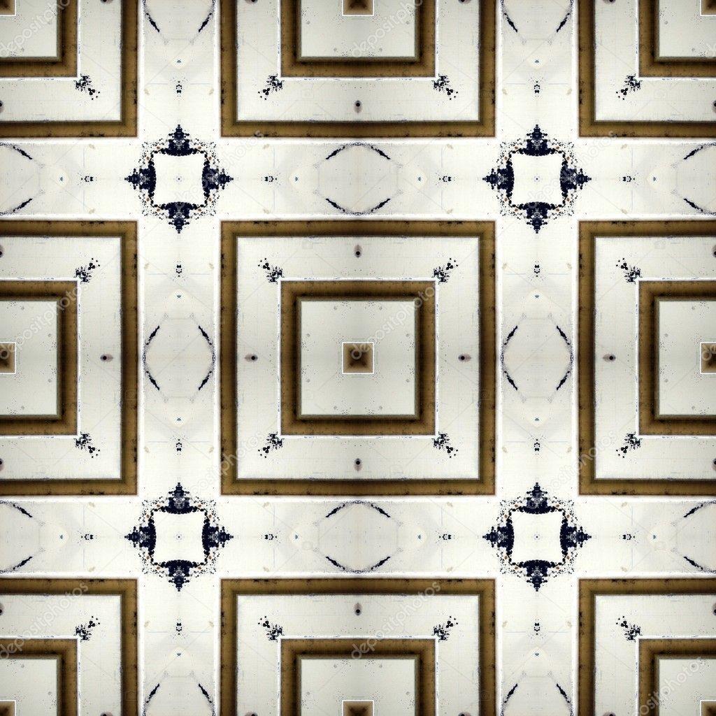 Seamless Ceramic Pattern Aged Floor Tiles Stock Photo