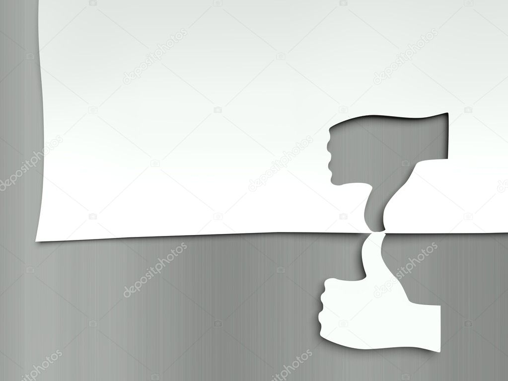Thumb up and down, concept of different opinions — Stock Photo #11847757