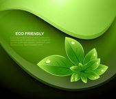 Abstracte aard blad eco ecologie glanzende golfvector — Stockvector
