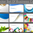 Abstract set of 9 business card templates vector — Imagen vectorial