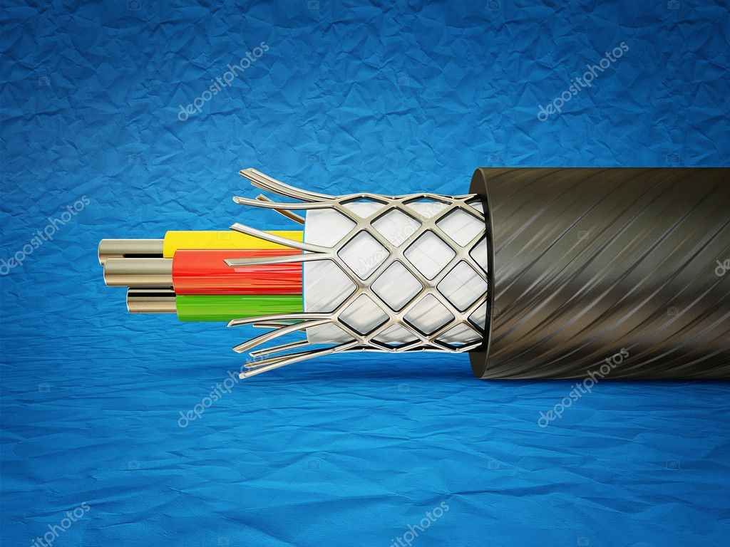 Macro cable isolated on a blue  background  Stock Photo #10915425