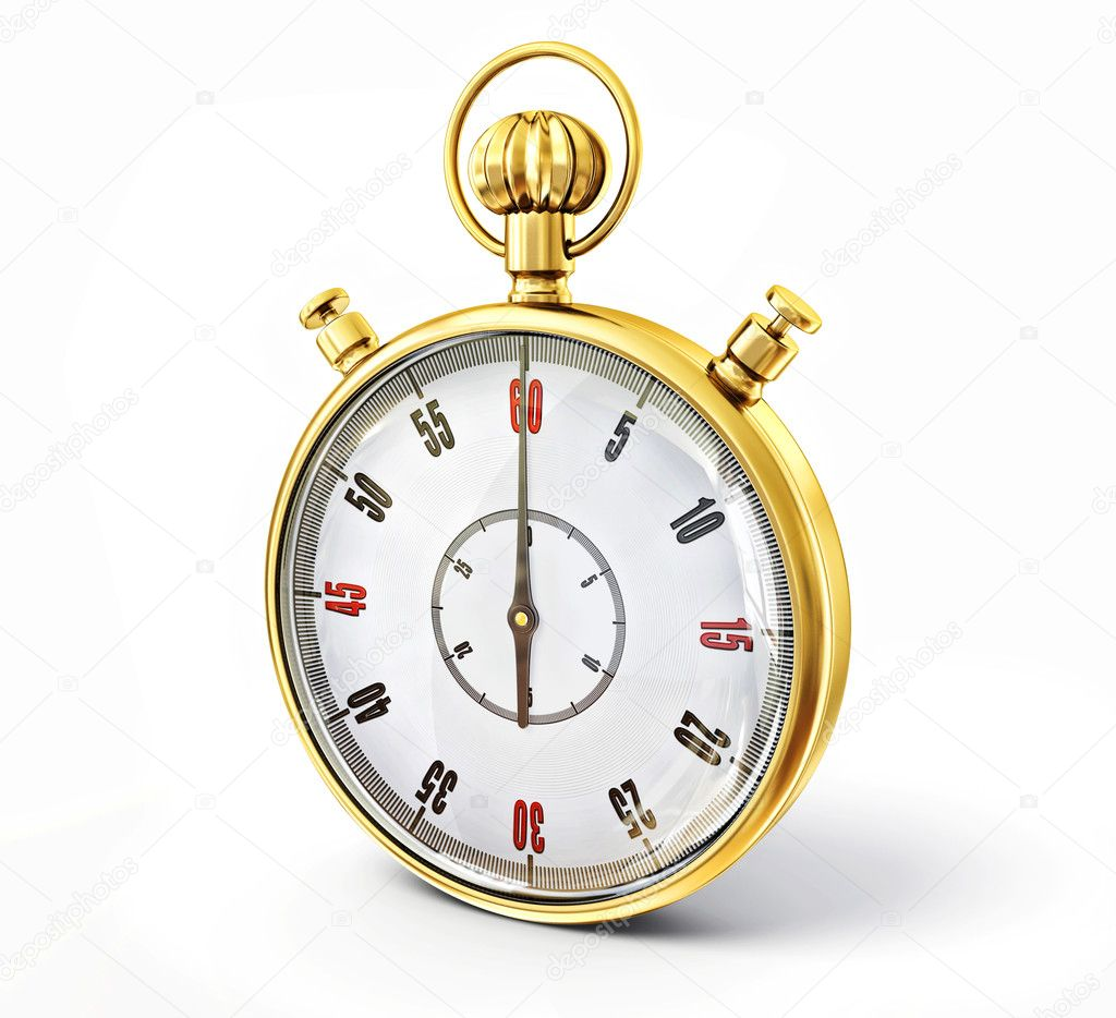Golden stopwatch isolated on a white background  Stock Photo #11937501
