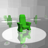The green chair in the mirror — Stock Photo