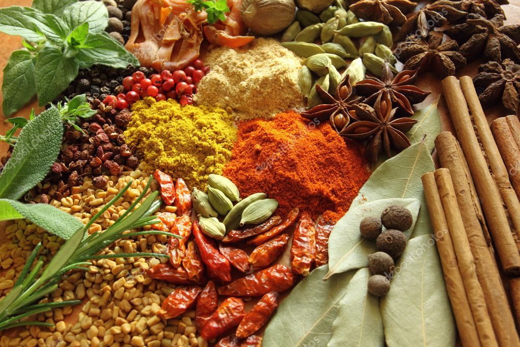 Herbs and spices selection. Aromatic ingredients and natural food additives. — Stock Photo #11009855