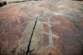Mysterious petroglyphs of Onega. Besov Nos — Stock Photo