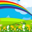 Rainbow over the flower field — Stock Vector #11113704