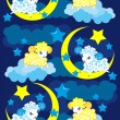 Seamless background with a sheep in the night sky — Stock Vector
