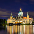 City Hall of Hannover, Germany by night with cloudy sky — Stock Photo
