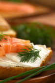 Salmon and Cream Cheese Canape — Stock Photo