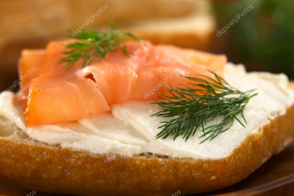 Salmon and cream cheese canape stock photo for Cream cheese canape