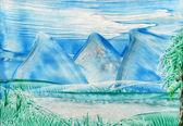 Watercolors landscape — Stock Photo