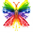 Watercolor the butterfly in the form of a rainbow — Stock Photo