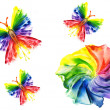 Watercolor abstract iridescent flower and butterfly on — Stock Photo #11564087