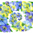 Stock Photo: Watercolor dark blue and yellow flowers on a white background