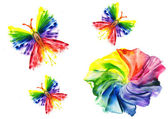 Watercolor abstract iridescent flower and butterfly on — Stock Photo