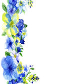 Watercolor dark blue and yellow flowers on a white background — Stock Photo