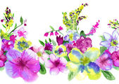 Watercolors lilac and yellow flowerson white background — Stock Photo