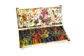Old water color paints of the artist on a white background — Foto de Stock