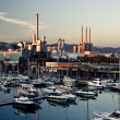 Barcelona's marina with many yachts - horizontal view — Stock Photo