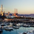 Barcelona's marina with many yachts - vertical view — Stock Photo