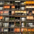 Stock Photo: Rows of balconies and windows