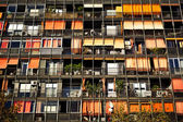 Rows of balconies and windows — Stock Photo