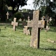 Stock Photo: Moldy stone crosses in cemetery