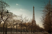 Eiffel tower, view from alley — Stock Photo