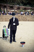 Black mime suit on a street — Stock Photo