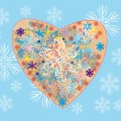 Royalty-Free Stock Vector Image: Fantasy winter heart with snowflakes