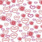 Textura abstracta sin fisuras con corazones y flores — Vector de stock
