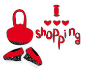 Amo fare shopping. un concetto per la realizzazione femminile giorno — Vettoriale Stock