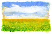 Green grass and blue sky with clouds — Stock Photo