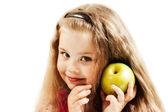Niño con una manzana — Foto de Stock