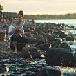 Couple in love on the lake — Stock Photo