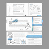 Web site design menu navigation elements with icons set: Gallery Image slider — Stock Vector