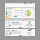 Website design template menu elements with icons set: Image slider — Stockvektor