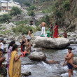 "Daily washing of the Hindus in the holy river Ganges, ""Northern India"" — Stock Photo"