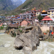 Badrinath Temple - a Hindu temple in the town of Badrinath, North India - Stock Photo