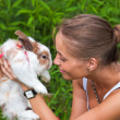 Girl with a rabbit. — Stock Photo
