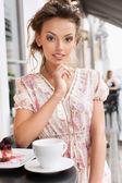 женщина и чай — Стоковое фото