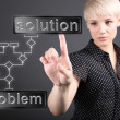 Problem solving concept - business woman touching screen — Stockfoto
