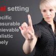 Goal setting concept - business woman touching screen - Stok fotoğraf