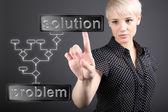 Probleemoplossend concept - zakenvrouw scherm aan te raken — Stockfoto