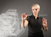 Microchip concept - engineers and blueprint — Stock Photo