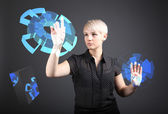 3D Technical Drawing - technology concept, girl with blueprint screen — Stock Photo