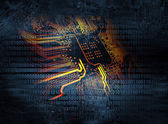 Microchip background - technology concept — Stock Photo
